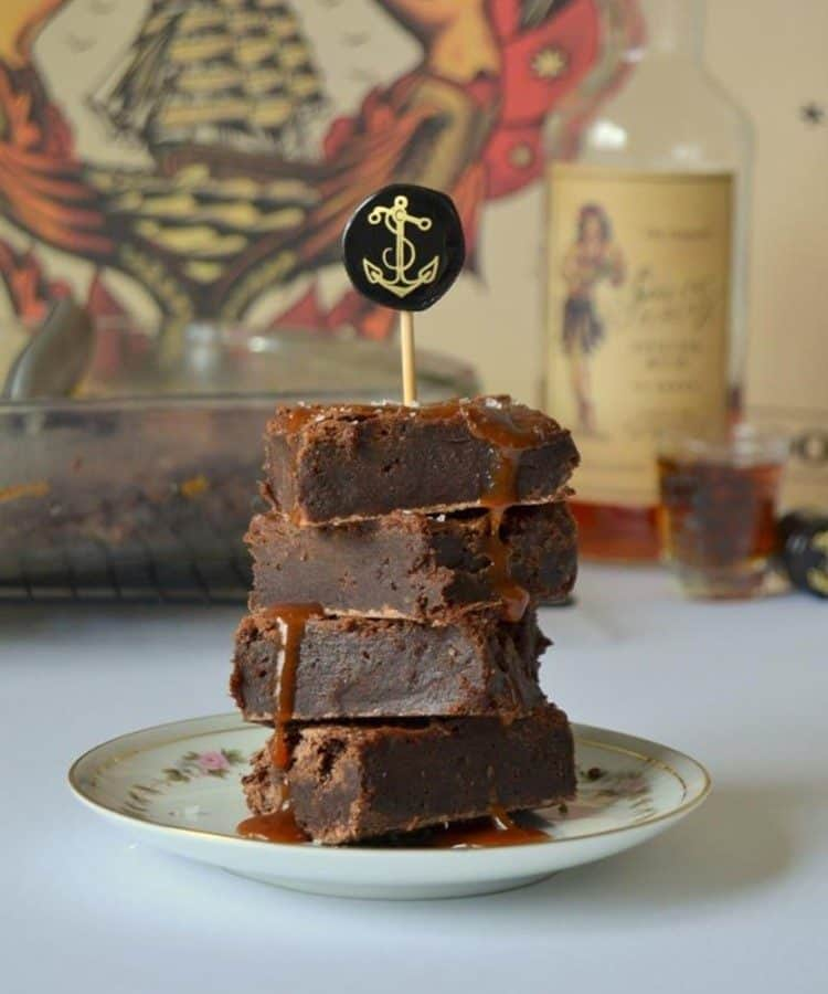 Boozy Brownies with Salted Caramel Rum Sauce