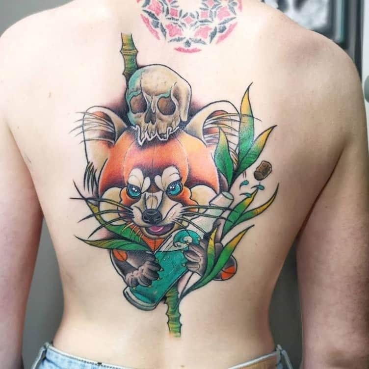 Funny Cartoon Inspired Back Tattoo