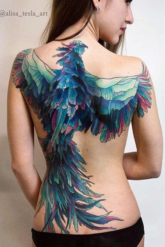 Bright Blue & Well Detailed Back Bird Tattoo