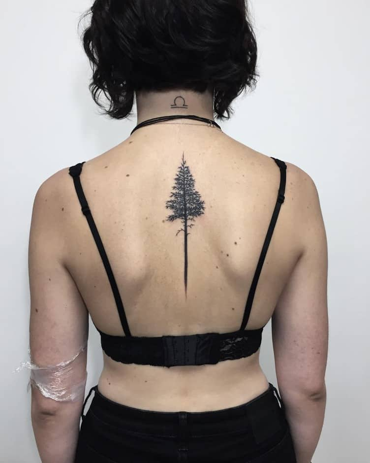 Long Tree Inspired Back Tattoo