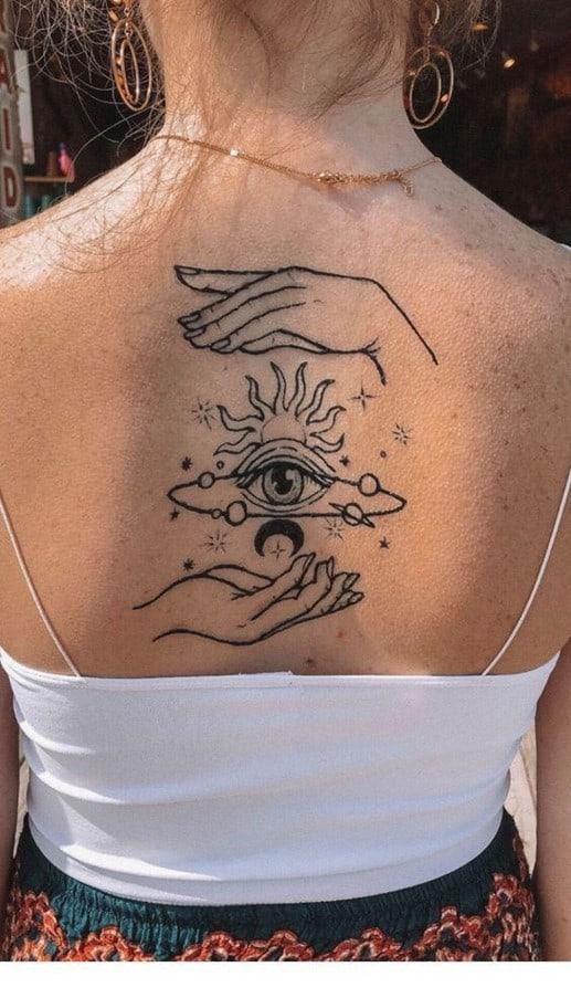 Upper Back Illusion Tattoo Mystery Symbols