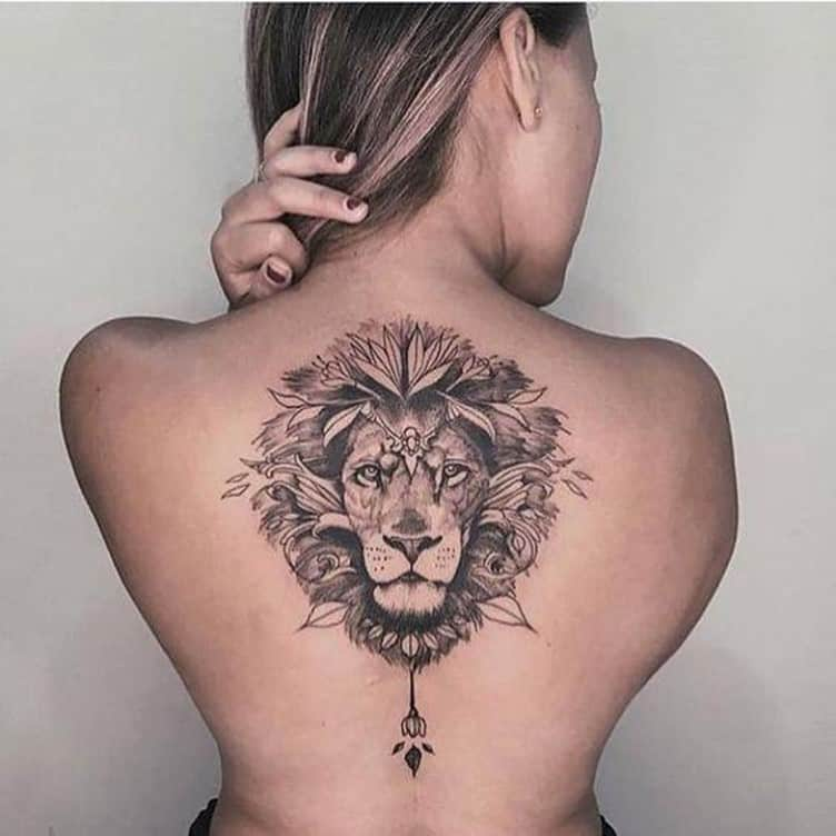 Lion Back Tattoo For Women