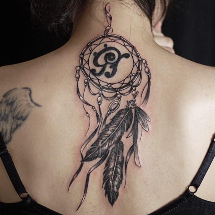 Black Ink Dream Catcher Neck & Back Tattoo