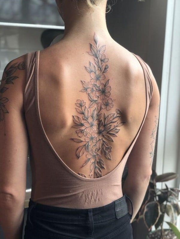 Gorgeous Flower Inspired Giant Back Tattoo