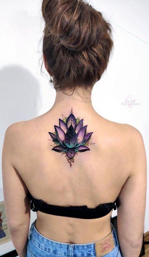Bright Purple Flower Tattoo For Women