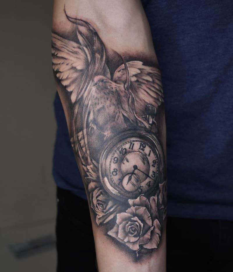 half sleeve tattoos for men Clock