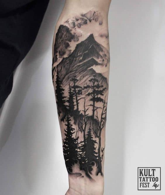 half sleeve tattoos for men Mountain