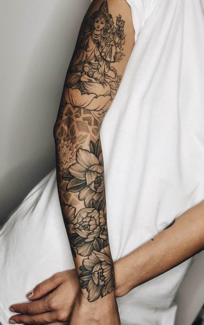 Mandala Tattoo Sleeve Design Black Ink