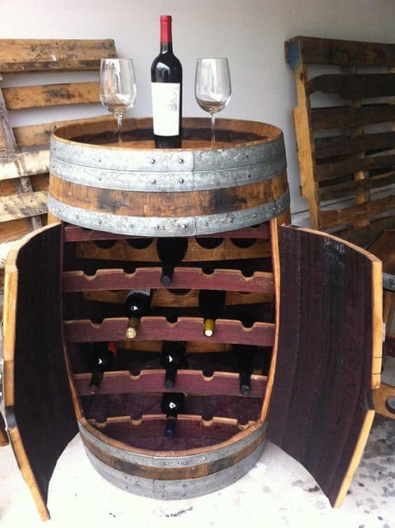 10. Large And Practical Barrel Idea Wine Rack