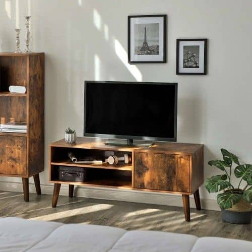10. Small Cupboard Inspired Wooden DIY TV Stand