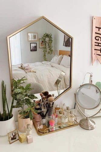 10. Unique Shaped Mirror For Vanity Table