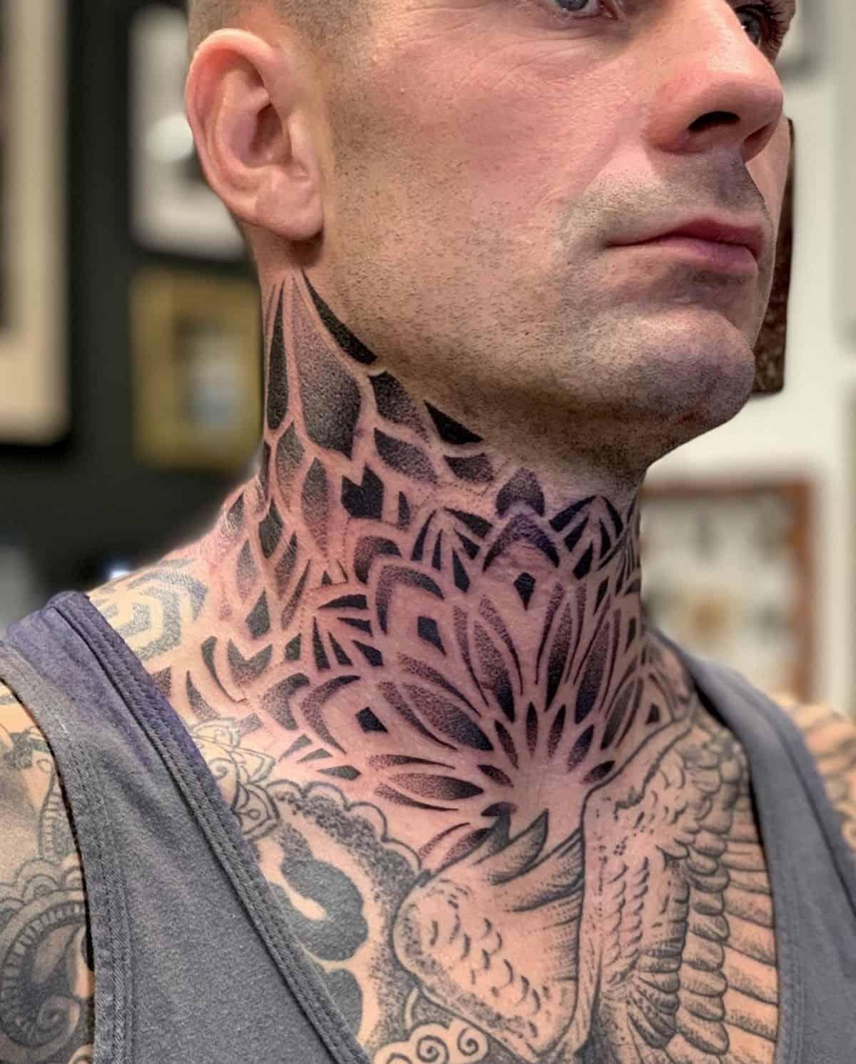 Mandala Tattoo Neck Design