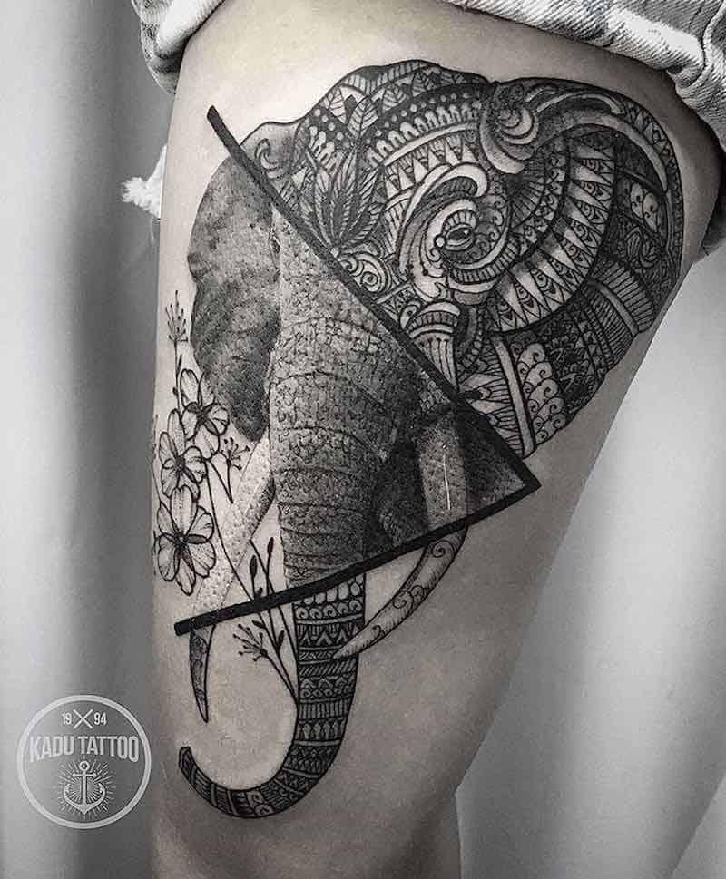 Mandala Tattoo Elephant Design Over Leg