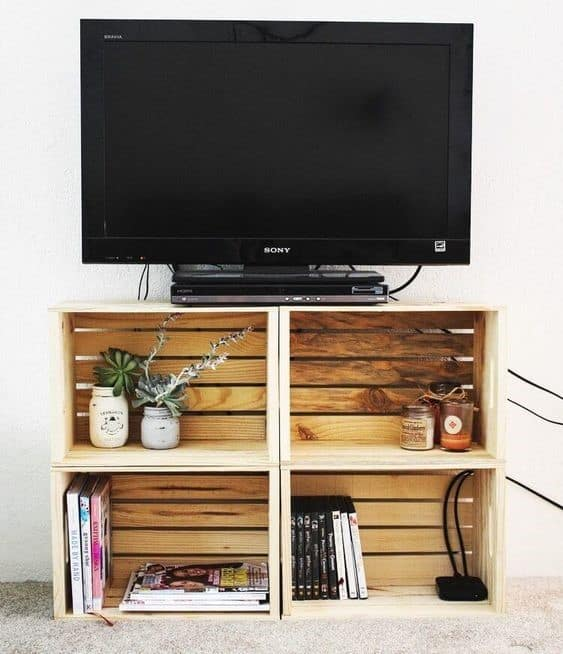 11. Square Shaped DIY TV Stand For Living Room