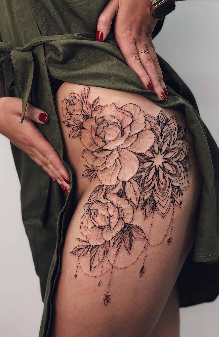Mandala Leg Tattoo Female Ink