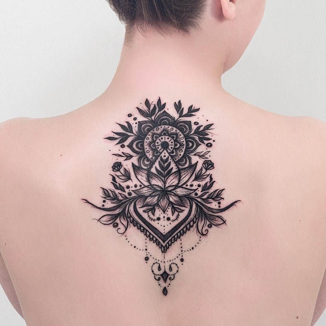 Mandala Tattoo Neck Placement With Gorgeous Flowers