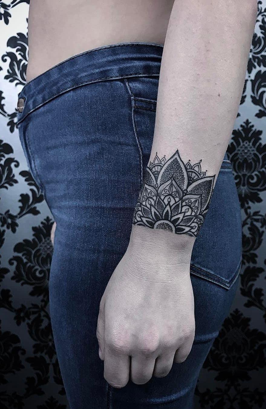 Mandala Tattoo Wrist Placement Flower Print