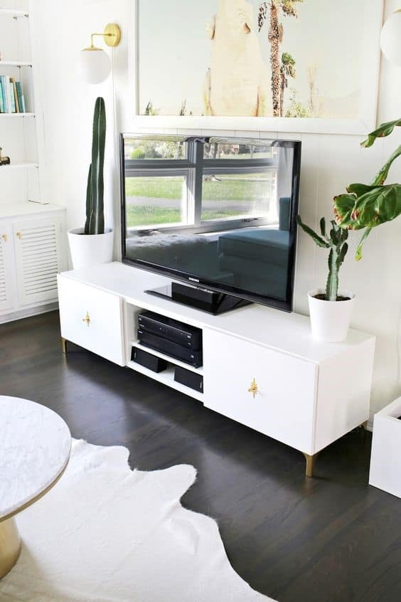 12. White And Simple Rustic DIY TV Stand