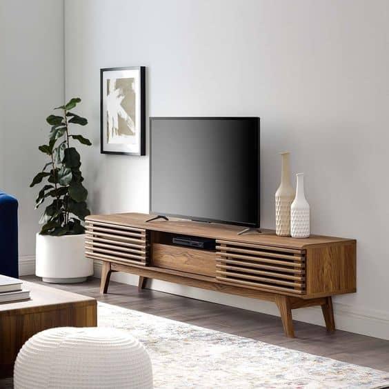13. Vintage Dark Brown TV Stand For Living Room