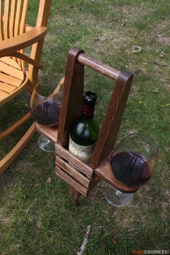 13. Wooden DIY Wine Rack With A Practical Glass Holder