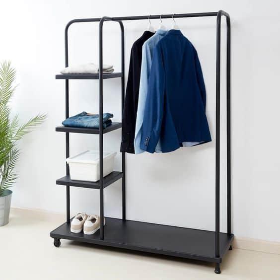 14. Modern Black Chrome Clothing Rack