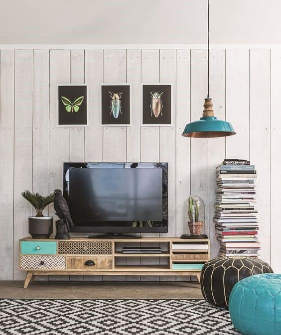 14. Playful Urban And Retro TV Stand For Living Room