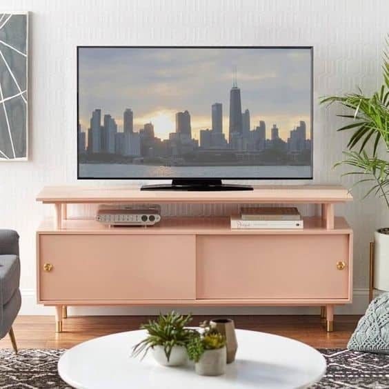 15. Cute Pink TV Stand For Girls Or Teens' Bedroom