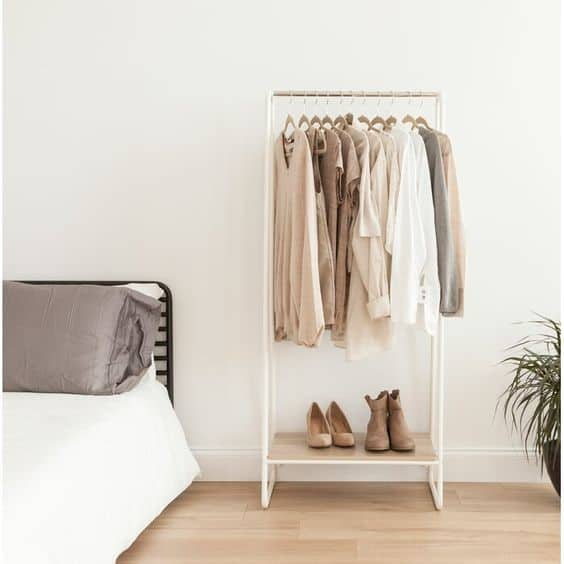 17. Small White DIY Clothing Rack For Bedroom
