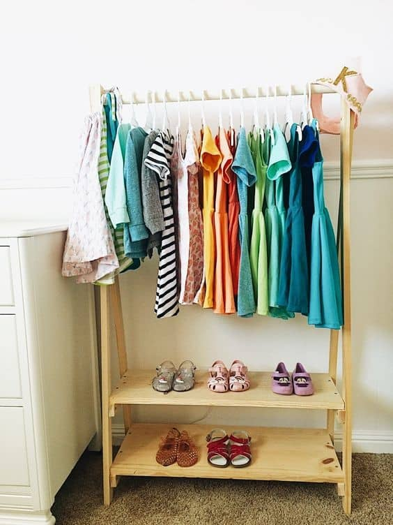 18. Wood Inspired Colorful Clothing Rack For Kids