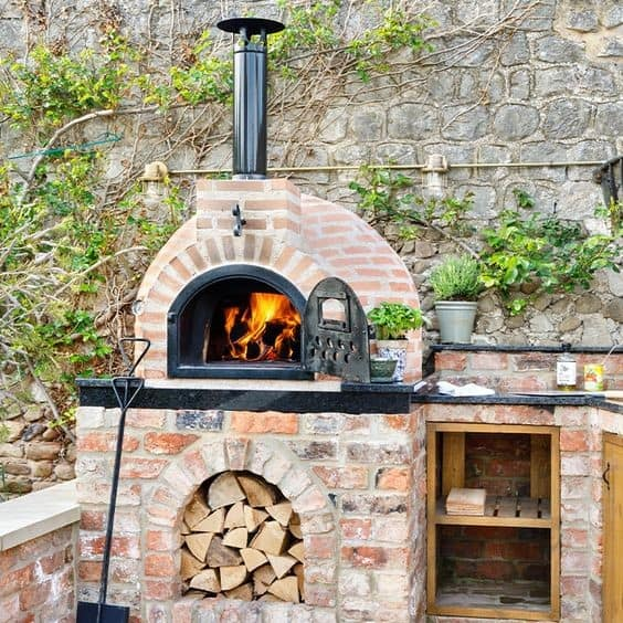 2. Light Brick And Stone Colored DIY Pizza Oven