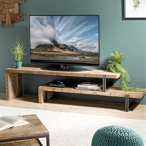 2. Light Brown Wood Inspired DIY TV Stand