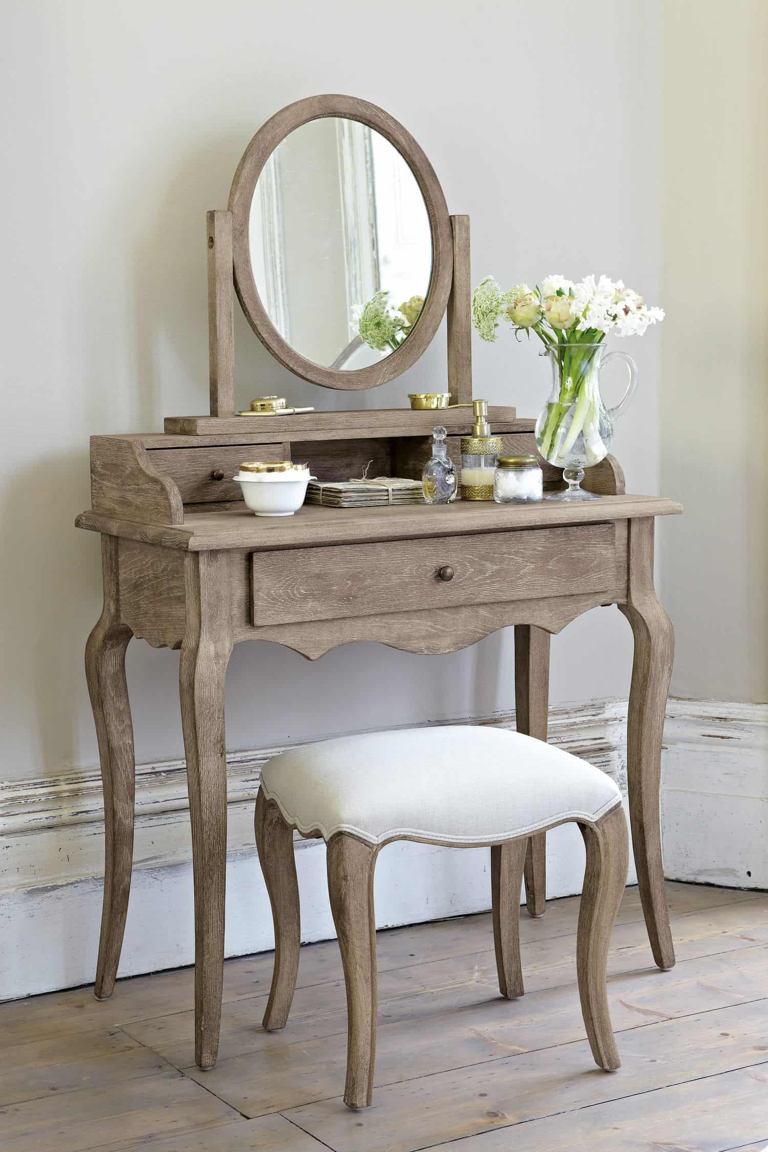 22. Dark Brown Wood Inspired Vanity Table