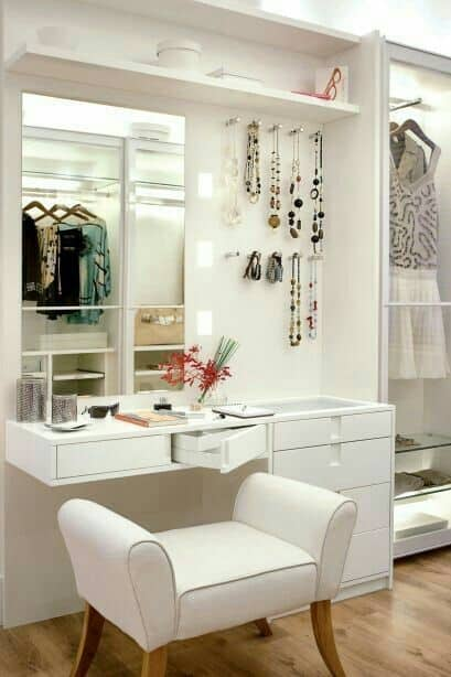 27. Playful White Corner Vanity Table
