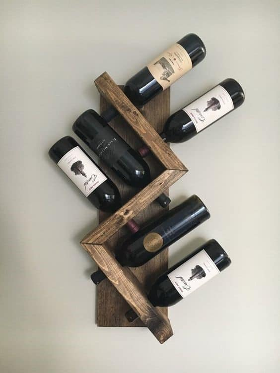 3. Asymmetrical Zig Zag DIY Wine Rack