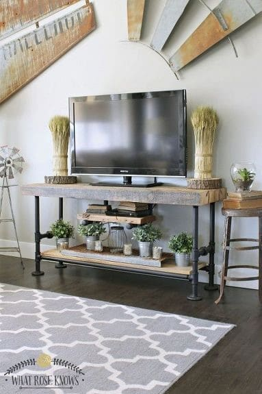 3. Boho Chic And Rustic Inspired Wood TV Stand