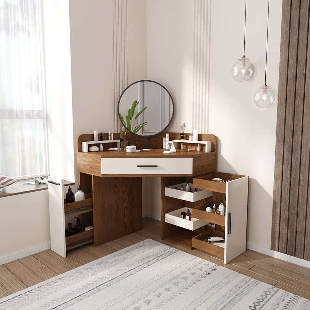 30. Retro Wood Brown & White Vanity Table
