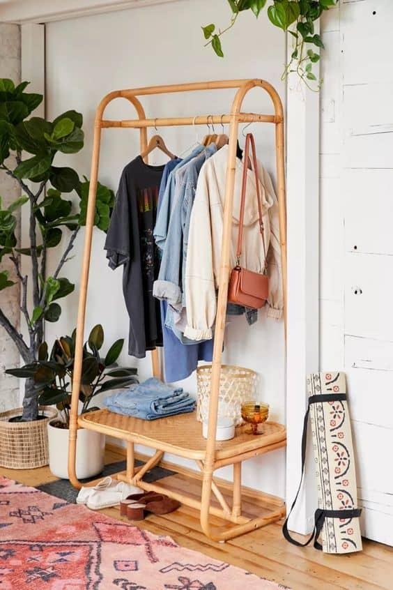 4. Boho Casual Bamboo Inspired DIY Clothing Rack