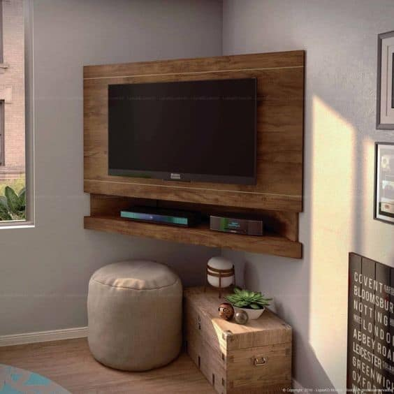 4. Dark Brown DIY TV Stand Mounted Into A Wall