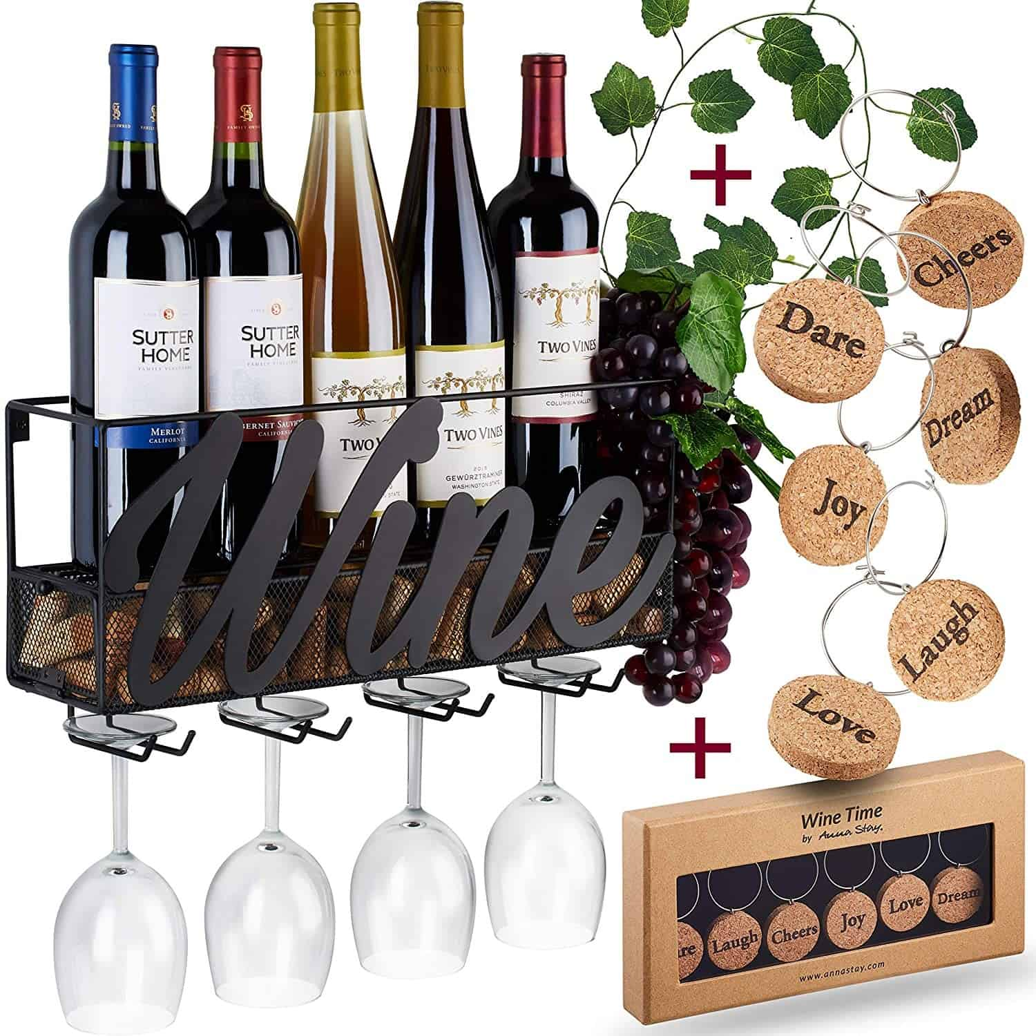 5. Gorgeous Black Metal Wine Rack