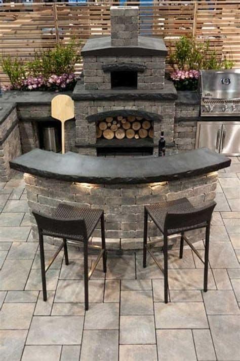 6. Dark Grey Oven With Outdoor Kitchen Design