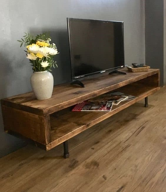6. Simple And Rustic DIY TV Sand For Living Room