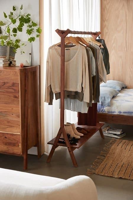 7. Bedroom Inspired Dark Wood Clothing Rack