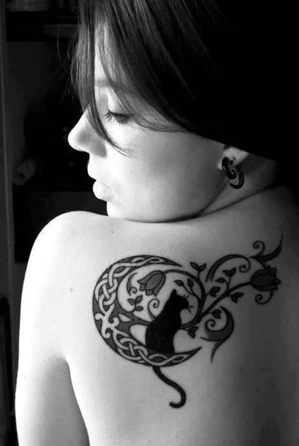 Gorgeous Back Piece With Cat And Celtic Inspired Moon Symbol