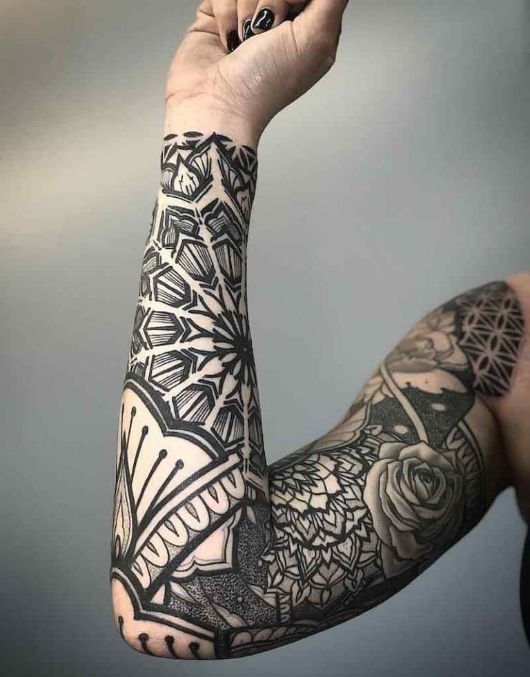 Precise And Gorgeous Black Mandala Sleeve Tattoo