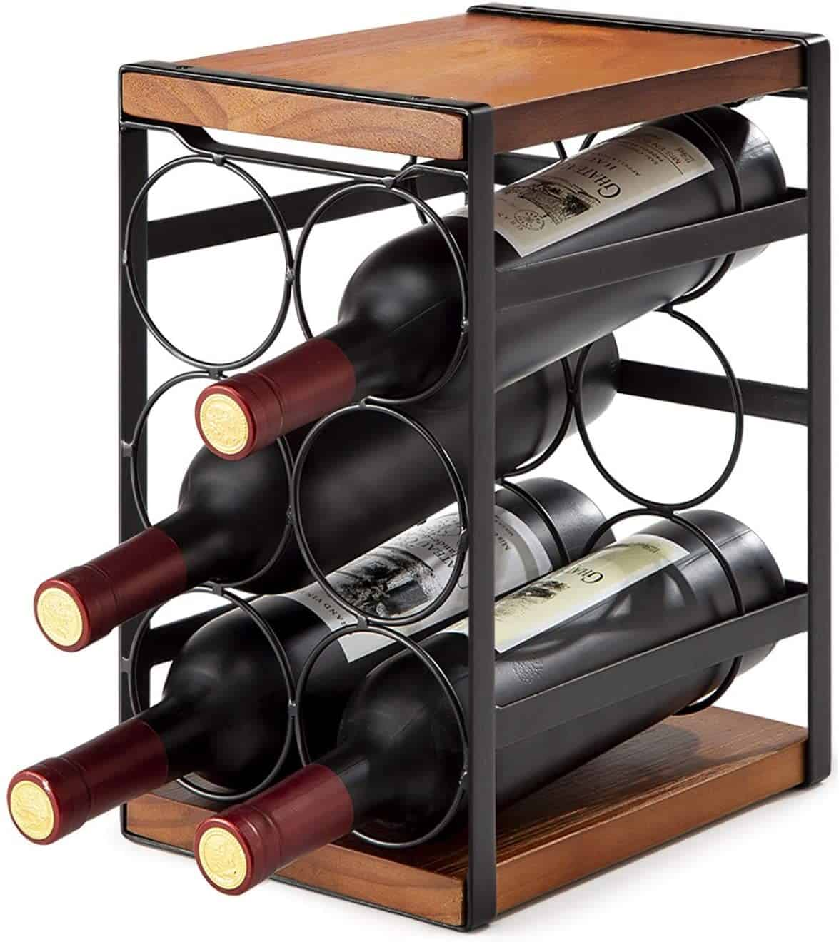 8. Black Metal Wine Rack Wooden Holder Coffee Table Design