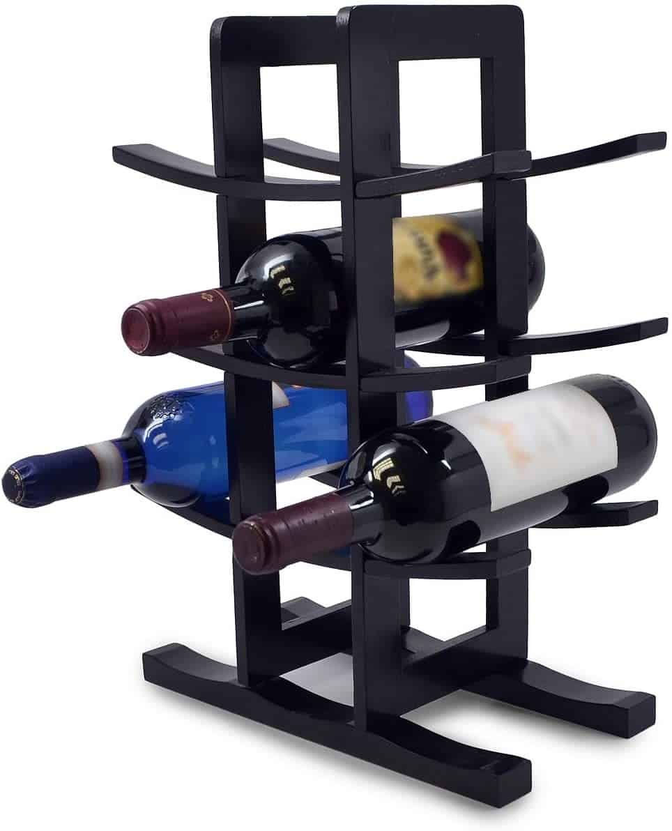 9. Black Frame Wine Rack Jenga Game Inspired Design