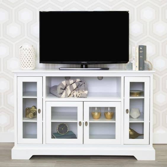 9. White And Rustic DIY TV Stand