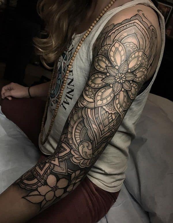 Detailed Sleeve Tattoo With Mandala Prints