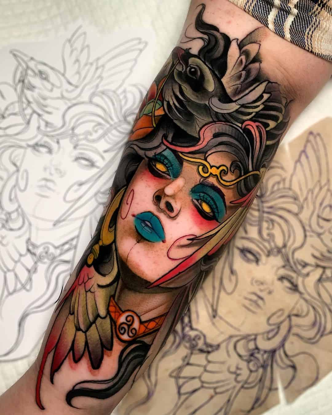 Celtic Tattoos With Mysterious Warrior Woman Ink Design