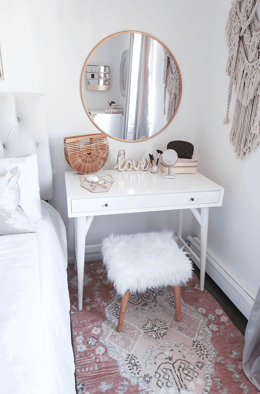 . Cute White Corner Vanity Table